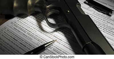 pisztoly, megvásárol, forma, kérdez, képben látható, dishonorable, elbocsátás