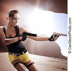 pisztoly, nő, csap, hát