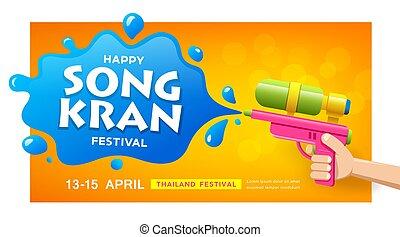 pisztoly, ongkran, kéz, tervezés, transzparens, loccsanás, fesztivál, víz, thaiföld