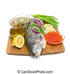 pisztráng, függőleges, növényi, olaj, citrom, kaviár, nyers, háttér., photo., olajbogyó, friss, fehér, fűszeráruk, piros