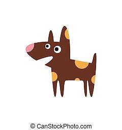 Pit Bull Dog Breed Primitive Cartoon Illustration