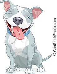 Pit Bull Dog - Illustration of Cute Pit Bull Dog