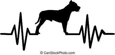 Pit Bull frequency silhouette - Heartbeat frequency with Pit...