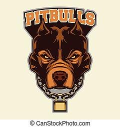 Pit bull Head Mascot - Multi Colors Illustration Of Pit bull...