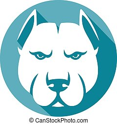 pit bull head (pit bull terrier) - pit bull head flat icon...