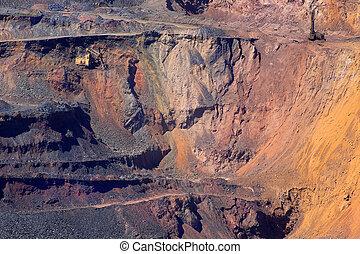 pit - excavator against iron-ore pit
