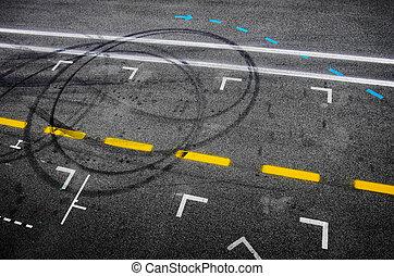 Pit Stop Asphalt - Top view of the asphalt of a car racing ...