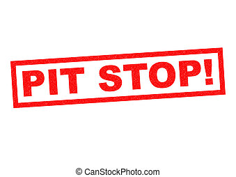 PIT STOP! red Rubber Stamp over a white background.