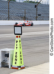 Pit zone cone at Indianapolis Motor Speedway