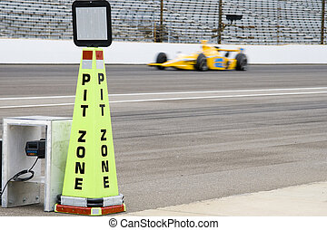 Pit zone, horizontal - Pit zone cone at Indianapolis Motor...
