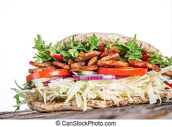 pita bread and kebab meat - Pita bread and Kebab meat on...
