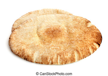Pita bread on a white background