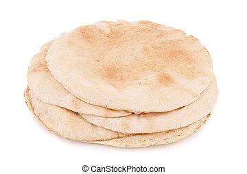 pita bread on white