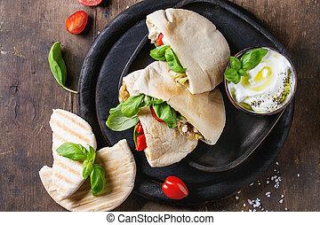 Pita bread sandwiches with vegetables - Pita bread...