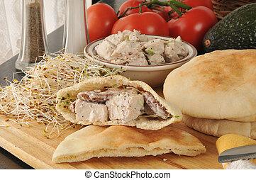 pita, chicken, sandwiches, slaatje