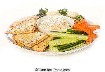 Pita chip and Vegetable Platter - Pita chips and fresh...