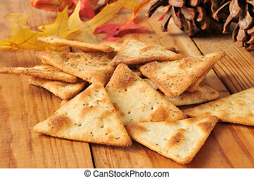 Pita chips - Toasted pita bread chips with herbal seasoning