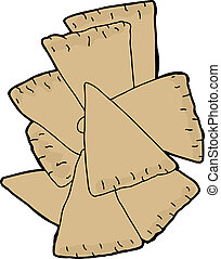 Pita Chips - Sliced pita wedge chips over white background