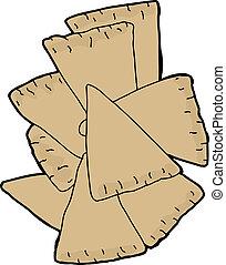 Sliced pita wedge chips over white background