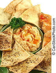 Pita Crisps And Hommus - Colorful and textured baked pita ...