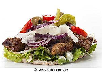 pita, gyros, kebab, bread