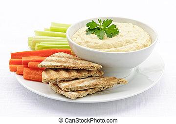 pita, hummus, vegetales, bread