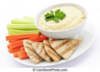 pita, hummus, warzywa, bread
