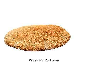 Loaf of whole wheat pita bread on white background