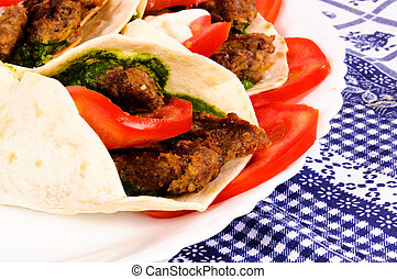 Pita meat - BBq and vegetables in tortila