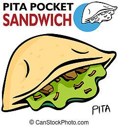 Pita Pocket Sandwich - An image of a Pita Pocket Sandwich.