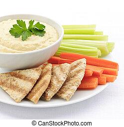 pitabröd, hummus, grönsaken, bread