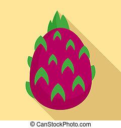 Pitaya fruit icon, flat style