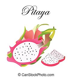 Pitaya Sketch of tropical dragon fruit. Exotic pink pitahaya fruit with green leaves on the top.