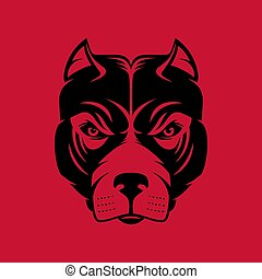 Pitbull. Dog head logo or icon in one color. Stock vector illustration.