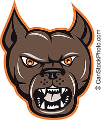 Pitbull Dog Mongrel Head Angry Cartoon
