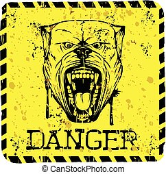 pitbull - Vector illustration yellow sign with aggressive...