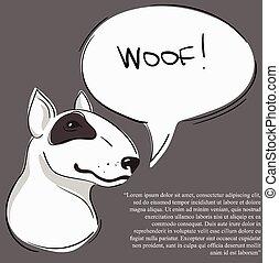 pitbull with speak bubble - Vector Illustration of Pit Bull...