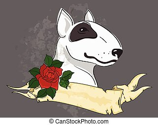 pitbull with tattoo styled ribbon and rose