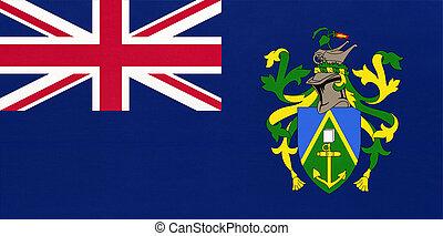 Pitcairn Islands national fabric flag, textile background. Symbol of international british overseas territories.