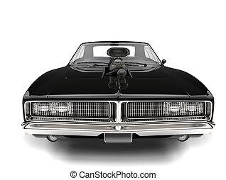 Pitch black American vintage muscle car - closeup shot