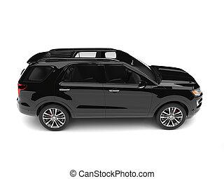 Pitch black modern SUV - side view