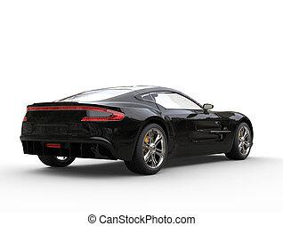 Pitch black sports car - back view