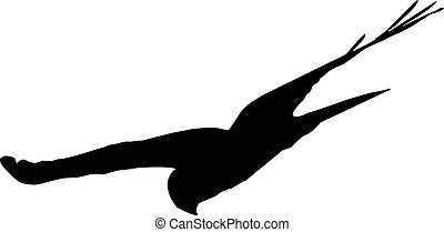 pitch-down - flying hawk, vector silhouette