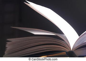 pitched, seiten-, páginas, aufgeschlagene