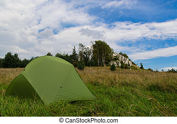pitched tent in meadow with big rock in background