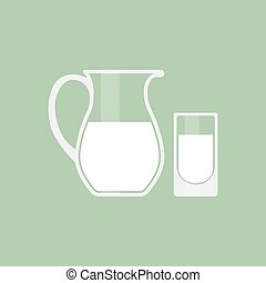 Pitcher and glass with milk icon