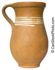 Clay pitcher isolated with clipping path