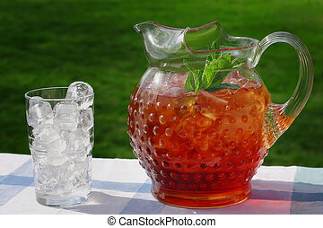 Pitcher of Iced Tea - An antique Hobnail Pitcher full of...