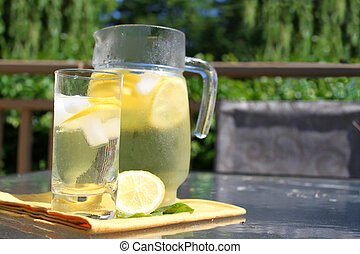 Pitcher of Lemonade - Pitcher of emonade in jar and glass ...