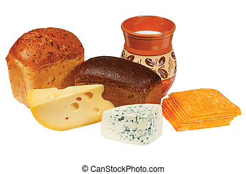 Pitcher of milk, bread and cheese on white background